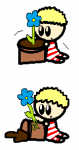 Baby America and the flower pot