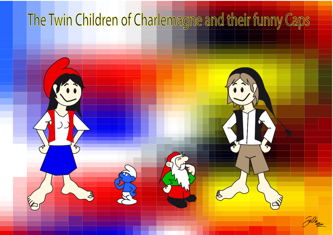 Twin Children of Charlmagne (and their funny hats)